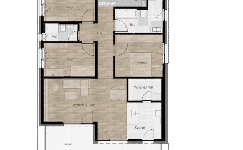 Kurzbeschreibung Ausstattung – Wohnung 04 (1.OG)