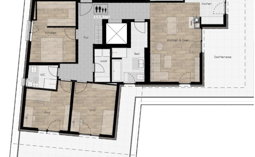Kurzbeschreibung – Wohnung 05 (Penthouse)